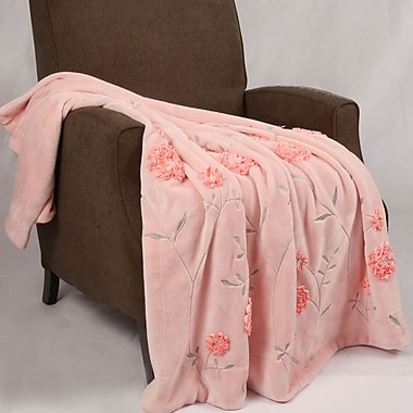 BOON Throw & Blanket Ribbon Sequin Embroidered Terelyene Throw Blanket; Pink