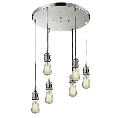 Innovations Lighting Bare Bulb 6-Light Pendant; Polished Nickel