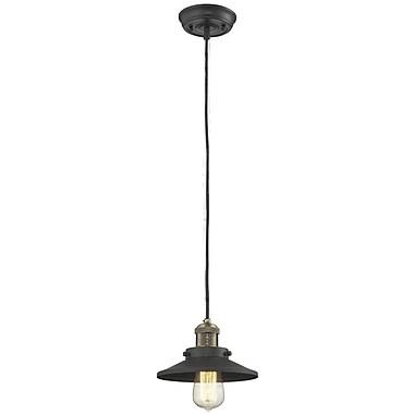 Innovations Lighting Railroad Shade 1-Light Mini Pendant; Black/Brushed Brass
