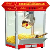 Funtime Popcorn Machines 8 oz. Countertop Sideshow Hot Oil Kettle Popcorn Machine; Red