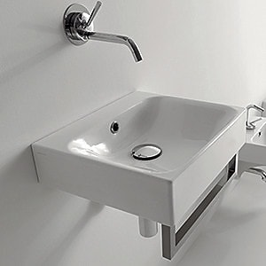 WS Bath Collections Cento Ceramic 16'' Wall Mount Bathroom Sink w/ Overflow