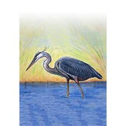 Betsy Drake Interiors Blue Heron Vertical Flag; 12'' W x 18'' H