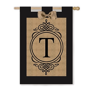 Evergreen Flag & Garden Monogram Vertical Flag; T