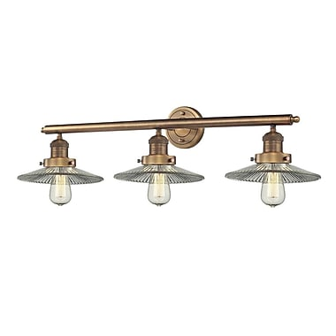 Innovations Lighting 3-Light Holophane Glass Wall Sconce; Brushed Brass