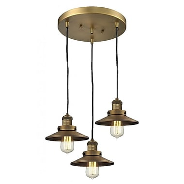 Innovations Lighting Railroad Shade 3-Light Pendant; Oiled Rubbed Bronze