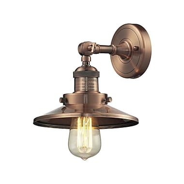 Innovations Lighting 1-Light Railroad Shade Wall Sconce; Antique Copper