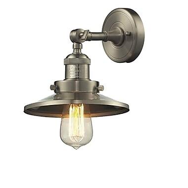 Innovations Lighting 1-Light Railroad Shade Wall Sconce; Satin Nickel