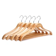 J.S Hanger Solid Wooden Men Suit/Clothes Hanger w/ Hook (Set of 5)