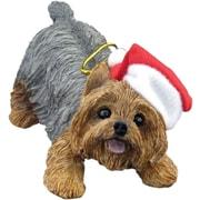 Sandicast Crouching Yorkshire Terrier Christmas Ornament