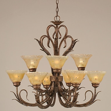 Toltec Lighting Swan 9-Light Shaded Chandelier; Amber