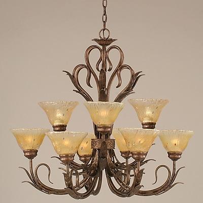 Toltec Lighting Swan 9-Light Shaded Chandelier; Amber
