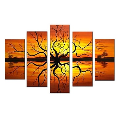 DesignArt Abstract Reflection Tree Landscape 5 Piece Painting on Canvas Set