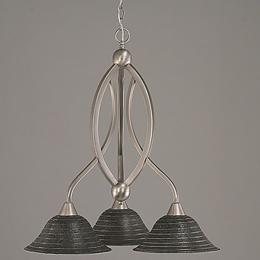 Toltec Lighting Bow 3-Light Shaded Chandelier; Brushed Nickel