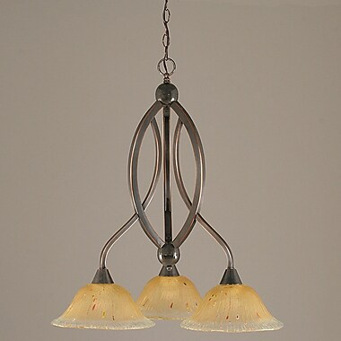Toltec Lighting Bow 3-Light Shaded Chandelier; Black Copper