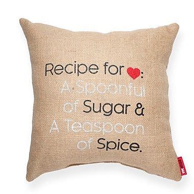 Posh365 Expressive ''Recipe For Love'' Decorative Burlap Throw Pillow