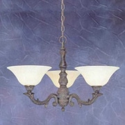 Toltec Lighting Olde Manor 3-Light Shaded Chandelier; Amber Marble Glass