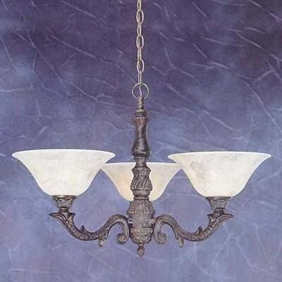 Toltec Lighting Olde Manor 3-Light Shaded Chandelier; Italian Marble Glass