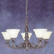 Toltec Lighting Olde Manor 5-Light Shaded Chandelier; Amber Marble Glass