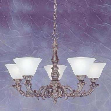 Toltec Lighting Olde Manor 5-Light Shaded Chandelier; White Marble Glass