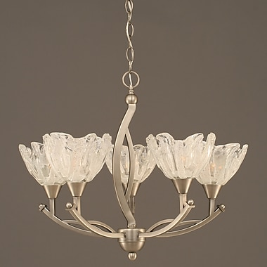 Toltec Lighting Bow 5-Light Shaded Chandelier; Brushed Nickel