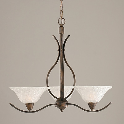 Toltec Lighting Swoop 3-Light Shaded Chandelier