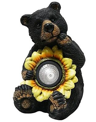 Alpine Bear w/ Solar Sunflower Garden Statue