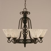 Toltec Lighting Elegant  5-Light Shaded Chandelier; Italian Ice Glass
