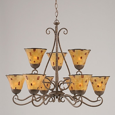 Toltec Lighting Olde Iron 9-Light Shaded Chandelier; Pen Shell