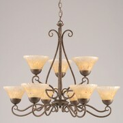 Toltec Lighting Olde Iron 9-Light Shaded Chandelier; Amber Crystal Glass