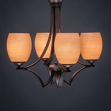 Toltec Lighting Zilo 4-Light Shaded Chandelier; Graphite