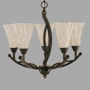 Toltec Lighting Bow 5-Light Shaded Chandelier; 20.25'' H x 21.5'' W