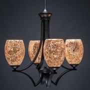 Toltec Lighting Zilo 4-Light Shaded Chandelier; Matte Black