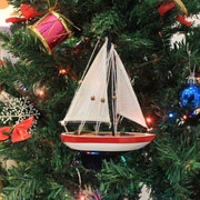 Handcrafted Nautical Decor 9'' Wooden USA Sailboat Model Christmas Tree Ornament