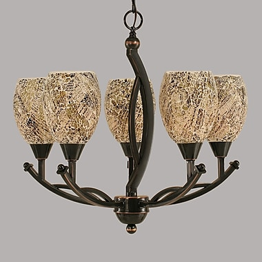 Toltec Lighting Bow 5-Light Shaded Chandelier; Natural