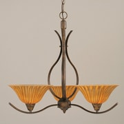 Toltec Lighting Swoop 3-Light Shaded Chandelier