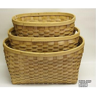 DestiDesign 3 Piece Rectangle Woodchip Basket Set