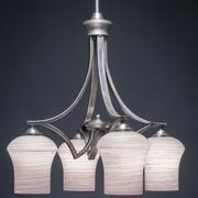 Toltec Lighting Zilo 4-Light Shaded Chandelier; Gray