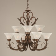 Toltec Lighting Swan 9-Light Shaded Chandelier
