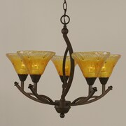 Toltec Lighting Bow 5-Light Shaded Chandelier; Gold Champagne