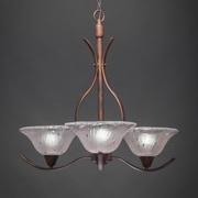 Toltec Lighting Swoop 3-Light Shaded Chandelier; Frosted