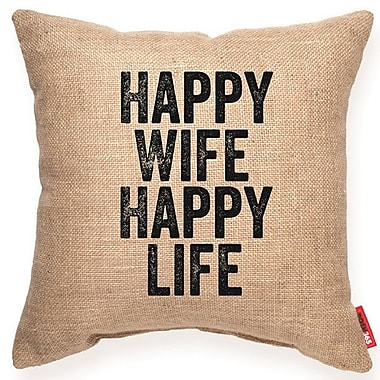 Posh365 Expressive ''Happy Wife Happy Life'' Decorative Burlap Throw Pillow; Medium