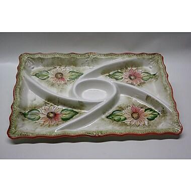 DestiDesign Rectangle Ceramic Food Section Divided Serving Dish