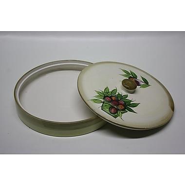 DestiDesign Round Ceramic Pita Bread Serving Tray w/ Lid