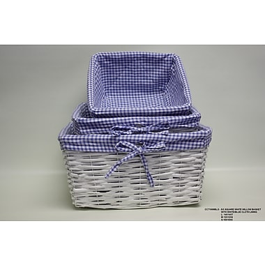 DestiDesign 3 Piece Square Willow Basket w/ Cloth Lining Set; Blue