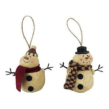 Craft Outlet 2 Piece Snowman Orn Set