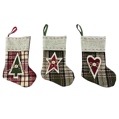 Craft Outlet 3 Piece Mini Stocking Set; 7.5'' H x 2.5'' W x 2.5'' D