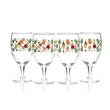Fiesta Dot All Purpose Goblet (Set of 4); Ivory/Shamrock/Scarlet/Tangerine