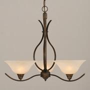 Toltec Lighting Swoop 3-Light Shaded Chandelier; Amber