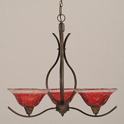 Toltec Lighting Swoop 3-Light Shaded Chandelier; Raspberry
