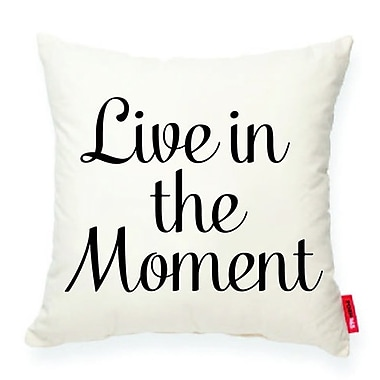 Posh365 Expressive ''Live in the Moment'' Decorative Cotton Throw Pillow